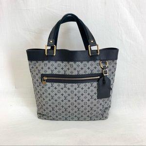 Louis Vuitton Blue Canvas Leather Tote Bag
